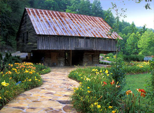 The Lily Barn path with blooming flowers in Townsend, TN